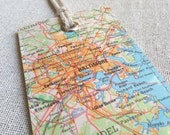 Baltimore luggage tag made with original vintage map