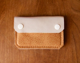 Leather Wallet - The Buddy - In Ivory & Caramel