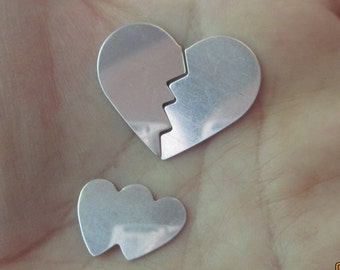 Sterling Silver Broken or  Double Heart Blank - (one heart)You choose which one