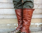 Caramel Brown Garment Leather Steampunk Spats or Gaiters w Antiqued Brass Hardware