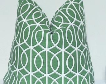 Robert Allen, Pillow Cover, Decorative Pillow, Throw Pillow, Green Lattice, Green Fretwork, Green Trellis, Kelly Green Pillow, Home Decor