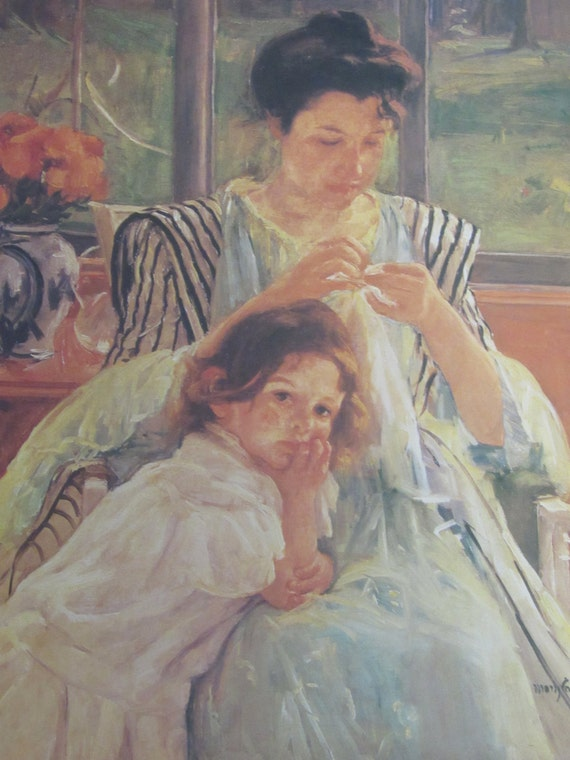 Mary cassatt young mother sewing 1902 color plate vintage for Mary cassatt coloring pages