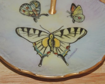 BUTTERFLY Trinket Dish Artist Signed