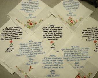8 Wedding Handkerchief  - FREE SHIPPING - Special occasions Handkerchiefs - Custom embroidery Handkerchiefs