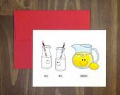milk milk lemonade / childrens nursery rhyme greeting card / naughty / fudge on back / weird and funny / amy schumer / for friend / blank