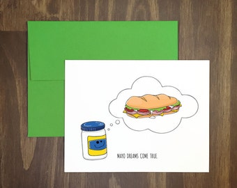 anytime card / mayo dreams come true / mayonnaise wish card / dream big / delicious hoagie / sub sandwich / lunchmeats / accomplishment card