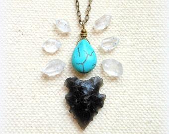 Turquoise howlite necklace southwestern turquoise jewelry bohemian jewelry everyday necklace boho necklace