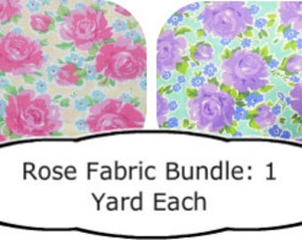 Rose Fabric Bundle,  2 Yards total, Cotton quilt fabric, Rose quilt fabric, Pink Rose fabric, Purple Rose Fabric