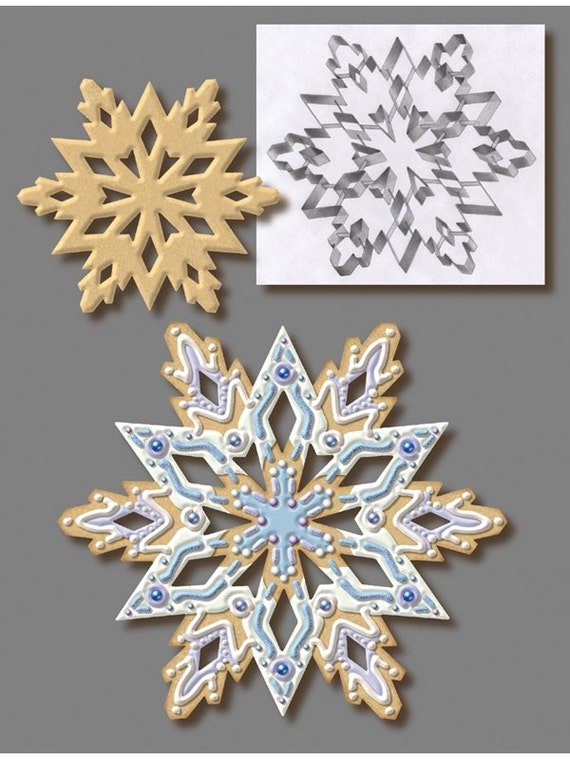 "7.5"" Lg Snowflake Cookie Cutter w/ insert cutters cake fondant or pie top cutter Christmas Cookie Cutter Frozen cake"