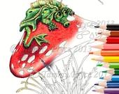Fantasy Sad Little Dragon on Mushroom Adult Coloring Page Digi Stamp Instant Download Printable PDF