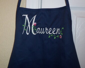 Apron Personalized with Elegant Floral Font Apron Embroidered Name Navy Blue Apron