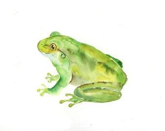 FROG Original watercolor painting 10x8inch