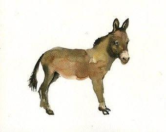 DONKEY Original watercolor painting 10x8inch
