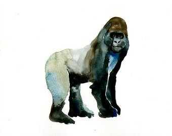GORILLA Original watercolor painting 10x8inch