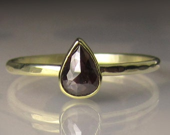 Chocolate Rose Cut  Diamond Engagement Ring - 14k and 18k Gold