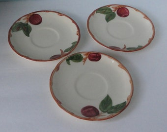 Vintage Franciscan Apple  Saucer set of 3 saucers. ca 1948-1949