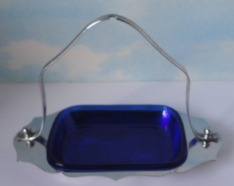 Farber Bros. Krome-Kraft Chrome Handled Tray with Cobalt Blue Glass Pickle/Olive Serving