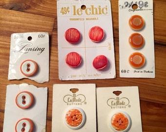 Vintage Button Sets in Orange 5 cards