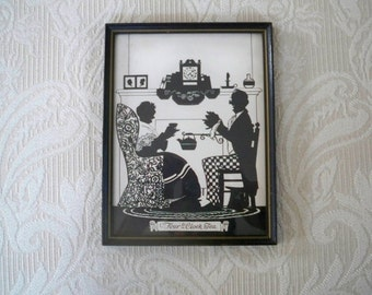 """Vintage Home Decor Silhouette """"Four O'Clock Tea"""" 1930's Wall Hanging Collectible Art"""