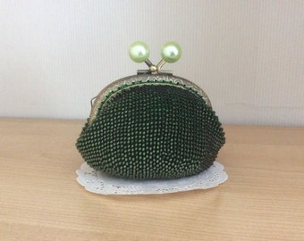Frosted Olivine/Pink Beaded Coin Purse - Japanese Beads / Metal Frame / Pouches / Kiss Lock Purse / Change / Wallet / Candy Frame