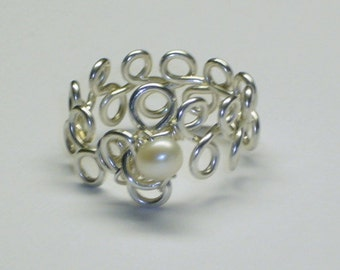 Purity Ring, Pearl, Sterling Silver, Handcrafted Setting