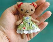 Teddy Bear Doll Pattern * Felt Doll Sewing Pattern * Make a 4 Inch Tall Mini Bear Doll