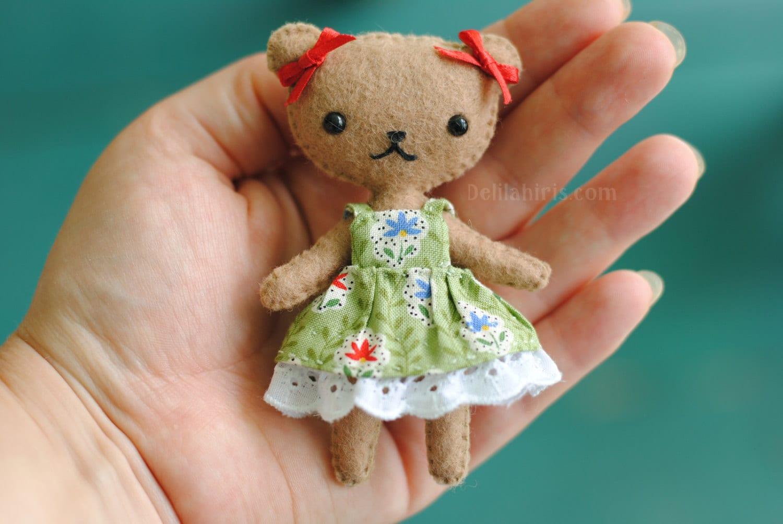 Teddy Bear Doll Pattern Felt Doll Sewing Pattern by DelilahIris
