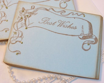 Wedding Wish Cards Vintage Inspired Banner Something Blue Shabby Cottage Style Set of 25