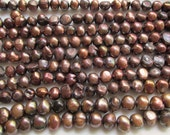 Antique Bronze Flat Sided Potato Freshwater Pearls 6-9mm 7 inches (18cm)
