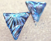 Small Triangle Studs, Dichroic Fused Glass, Blue Studs, Silver Blue Triangle Studs, Nickle Free, Surgical Steel, Titanium, Sterling