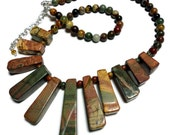Necklace Jewelry Picture Jasper Egyptian Fan Statement Rust Green Brown Handmade Sterling 18 Inch with Extender Bold Handmade Artisan