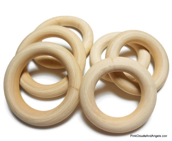 Wood rings 2 5 to 3 inch lot of 19 medium and large destash for Wooden rings for crafts