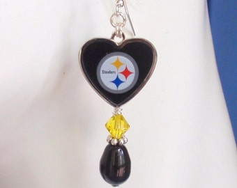 Pittsburgh Steelers Earrings, Steelers Bling, Black and Gold Crystal Football Earrings, Football Steelers Jewelry Accessory Fanwear