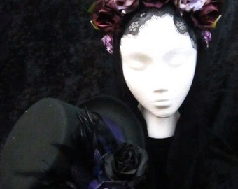 Day of the Dead Headdress and Top Hat Set in Various Shades of Purple