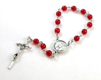 Single Decade Saint Pope John Paul II Single Decade Rosary Chaplet - Red -  Handmade Baptism, First Communion, Confirmation, Godparent Gift