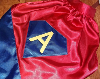 Diamond Shield Superhero Cape Custom Super Hero Diamond Kids Cape Reversible in Washable Satin Personalized with Name or Initial