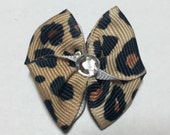Leopard Print Dog Grooming Hair Bow with a Clear Rhinestone Center
