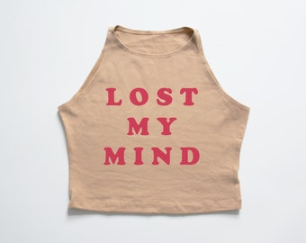 LOST MY MIND | Nude high neck crop top