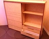 IKEA inspired miniature wooden modern wardrobe, 1/12 scale for dollhouses