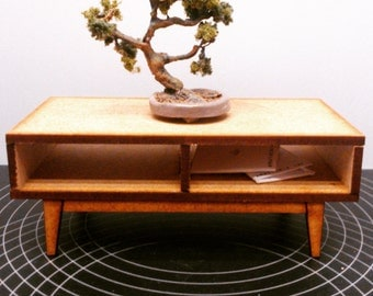 IKEA inspired miniature dollhouse modern low table, 1/12 scale