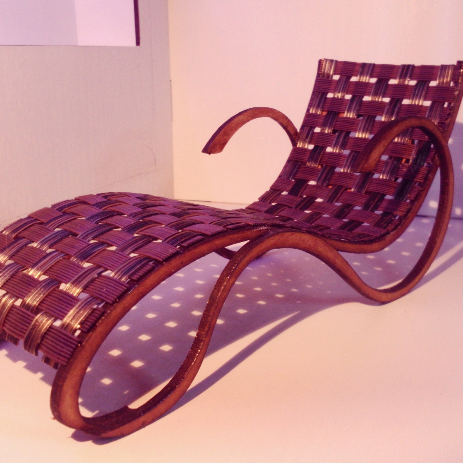 Art nouveau style brown and black chaise longue 1 12 for Art nouveau chaise longue