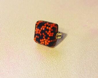 Halloween Black and Orange Sprinkle Ring (Adjustable)