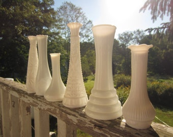 Vintage Set of 6 Milk Glass Vases White Wedding Garden Table Setting Eclectic Variety