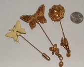 reserve4erica-MIRIAM HASKELL signed- 3 hatpins- lapel pins- you get all 3- all still nice all 1940s- all authentic