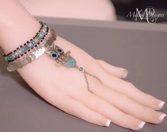 Silver Aqua Blue Green Chevron Owl Slave Bracelet