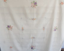 small vintage tablecloth, cross stitch pattern, floral cross stitch, TLC sold as is, white square tablecloth, small tablecloth, 50s home
