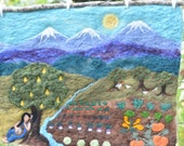 Banjo Pickin' in the Garden - Felted Wool Wall Hanging