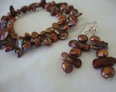FREE SHIPPING Autumn Rust Red Bronze Freshwater Pearl Necklace and Sterling Earring Set