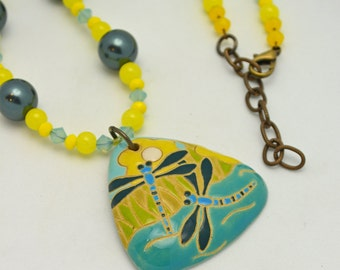 Dragonfly Pendant Necklace. Large ceramic focal w/ cool water swarovski crystal colors balanced by sunny yellow czech glass - One of a Kind.