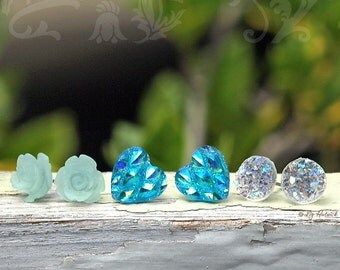 Faux Druzy Stud Earrings, 3Pair Set - Glitter Faux Druzies, Chunky Hearts, Frosty Aqua Roses, Christmas Gift